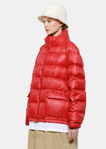 Red Layered Puffer Coat