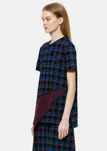 Blue Plaid Panelled T-Shirt
