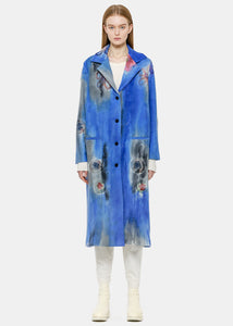 China Blue Needle-Punch Floral Coat