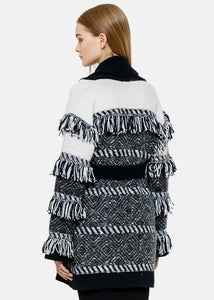 Navy & Ice White Fringed Wrap Coat