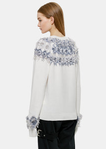 Ice White Frill Crewneck Sweater