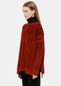 Coral Red Cable Knit Turtleneck