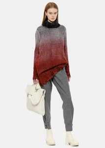 Coral Red Distressed Turtleneck