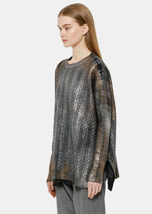 Black Laminated Cable Knit Sweater