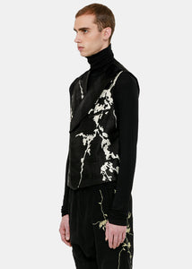Black Embroidered Double-Breasted Waistcoat