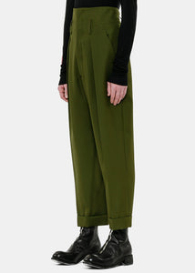 Khaki High-Waist Trousers