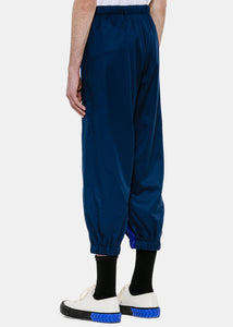 Two-Tone Blue Flannel Track Pants