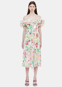 White Floral Prairie Dress