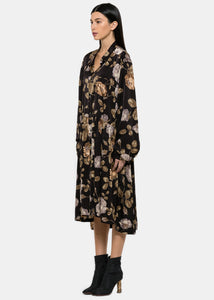 Black Golden Floral Print Black Dress
