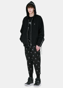 Black Logo Embroidery Pants