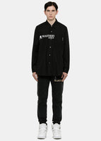 Black Overlay Button-Up Logo Shirt