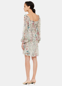 Silver Floral Bayou Flare Dress