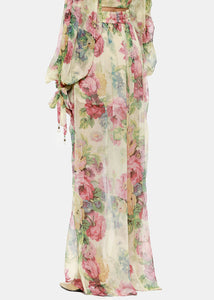 Taupe Floral Melody Wide Leg Pants