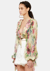 Floral Melody Tie Front Top