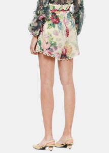 Taupe Floral Melody High Waist Shorts