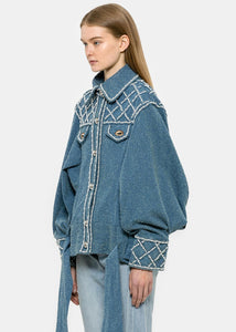 Blue Oversized Denim Pearl Jacket