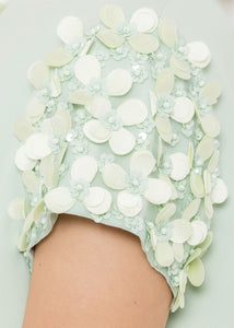 Mint Floral Sleeves Dress