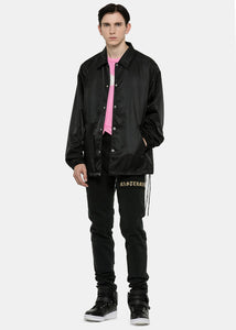 Black Embroidered Nylon Logo Jacket