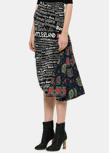 Black Print Umbrella Skirt