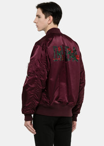 Burgundy Rose Embroidered Padded Bomber