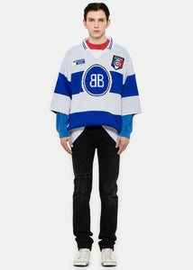 Blue & White Knit BB Polo Sweater