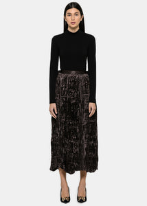 Dark Brown Metallic Plissé Skirt