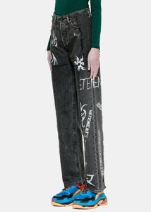 Black Levi's Deconstructed Tribal Jeans