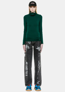 Dark Green Fitted Inside-Out Turtleneck