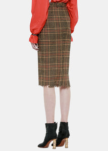Brown Check Wrapped Pencil Skirt