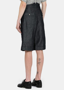 Dark Navy Pleated Shorts