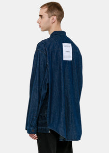 Navy Oversized Inside-Out Denim Shirt