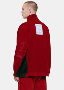 Red & Green Oversized Zip-Up Pullover