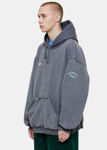 Ice Blue Inside-Out Zip-Up Hoodie