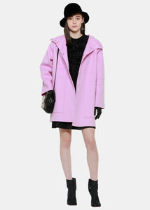 Pink Hooded Wool Jacket