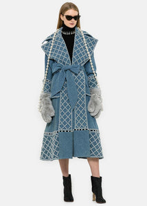Blue Denim Pearl Embroidered Coat