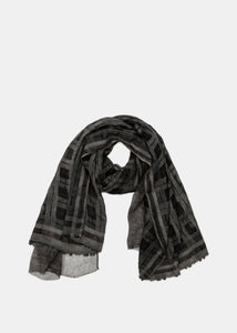 Brown & Grey Check Wool Scarf