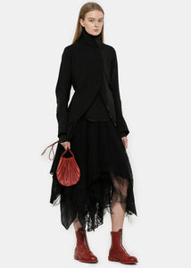 Black Pleated Asymmetrical Coat