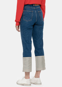 Blue Stripe Fisherman Jeans