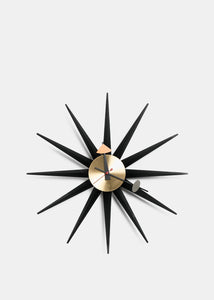 Black & Brass Sunburst Clock