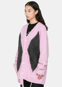 Pink Agyle Knit Cardigan