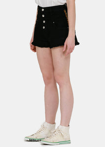 Black High-Waisted Track Shorts