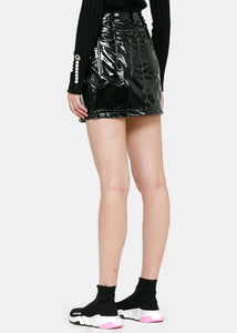 Black Latex Triple-Zip Mini Skirt