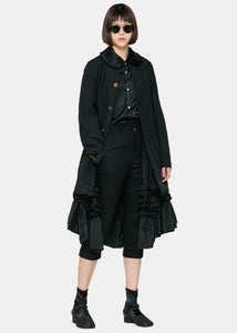 Black Ruched & Ruffled Coat