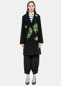Black Woven Appliqué Coat