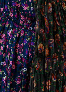 Multicolor Floral Layered Pleated Dress