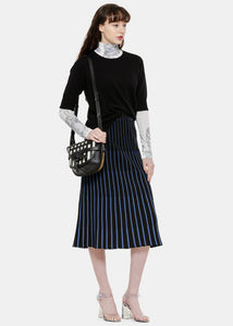 Black Striped Pleats Skirt