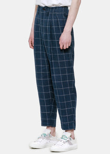 Blue Check Linen Pants