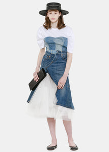 White & Indigo Denim Corset T-Shirt