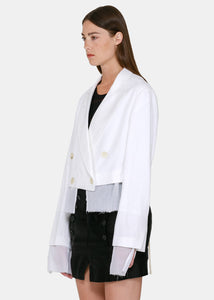 White Cropped Jacket