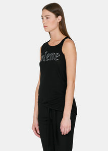 Black Letter Printed Tank Top